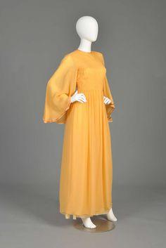 Silk chiffon gown with angel sleeves, Hanae Mori, 1970's.
