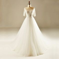 Find More Wedding Dresses Information about Real Ivory Elegant A Line Beaded Lace Half Sleeve Wedding Dress 2017 Long Church Bridal Gown vestidos de noiva Custom Made HW114,High Quality dress jacket wedding guest,China dress chain Suppliers, Cheap dress flower from Shop1097158 Store on Aliexpress.com