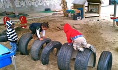 Tires make great fun on the playground.