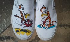 Custom Vans, for myself actually I'm really really happy with the way they turned out, most people said that it could be a print O_o I love me some Calv. Calvin and Hobbes Custom Shoes Custom Painted Shoes, Custom Vans, Custom Shoes, Calvin And Hobbes Wallpaper, Fabric Painting, Shoe Painting, Van Design, Art Corner, Hype Shoes