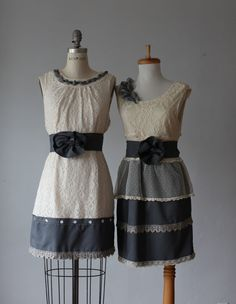 mismatched bridesmaid dresses / Bridesmaid / Romantic / gray /lace /vintage  / Fairy / Dreamy / Bridesmaid / Party / wedding / Bride on Etsy, $119.00