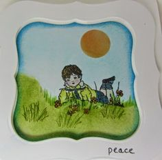 """""""Simple"""" Card by Mary's Paper Blessings. Includes masking, spellbinders frame made with Labels One nestabilities. Peace on a grassy hill."""
