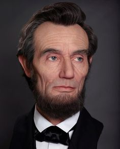 "Whoa. ""As fans of Abraham Lincoln we were blown away by this incredibly awesome and astonishingly realistic bust of Honest Abe, created by visual artist and special effects makeup artist Kazuhiro Tsuji. The silicone sculpted, mixed media bust measures 45"" tall, 80"" with its stand. We keep staring at this photo waiting for Abe to blink."""