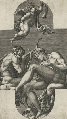 Giorgio Ghisi (Italian, 1520 - 1582), After: Francesco Primaticcio (Italian, 1504 - 1570), Apollo, Pan, and a Putto blowing a Horn, n.d. Engraving. Plate: 29 x 16.5cm (11 7/16 x 6 1/2in.). Walter R. Callender Fund. Yale University Art Gallery, 1969.65.3a. Photo credit: Yale University Art Gallery.