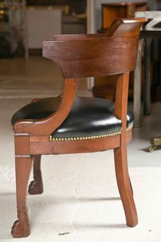 19th c French Empire Mahogany Tub Chair with leather Seat | From a unique collection of antique and modern armchairs at http://www.1stdibs.com/furniture/seating/armchairs/