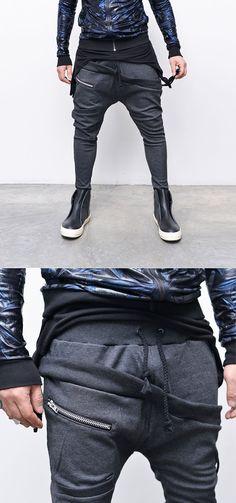 Diagonal Layered Look Zipper Baggy-Sweatpants 159 - GUYLOOK