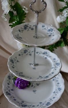 Tiered Cake Stand Three Tiered Server Blue Floral by SimplyChina, $65.00
