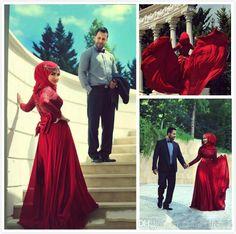 2015 Rose Red High Neck Muslim Wedding Dresses Beautiful Lace Vestido De Noiva…