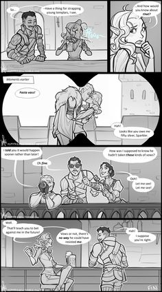 –News travels fast in Skyhold, apparently (for instance, the news that Cullen hasn't taken those kinds of vows). (Cullen x Inquisitor) Dragon Age Comics, Dragon Age Memes, Dragon Age Funny, Dragon Age 2, Dragon Age Origins, Cullen Dragon Age, Dragon Age Romance, Videos Fun, 4 Panel Life