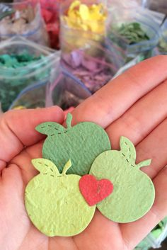 There's a secret inside these apples. Made out of plantable paper, these adorable apples are embedded with flower seeds to make the perfect party favor.