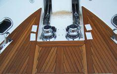 Teak decking on bow of yacht