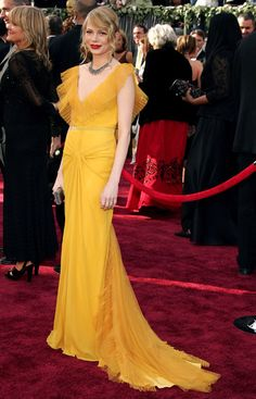 michelle williams   yellow dress + red lips