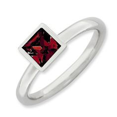 Sterling Silver Stackable Expressions Square July Swarovski Ring * See this awesome image  : Jewelry Rings Stacking