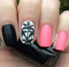 Fun palm tree design by Instagram user melcisme #neon #matte #palmtree #nails