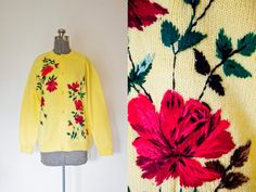 A lovely vintage 1950s - early 60s cardigan sweater.    Bright yellow thick wool knit buttons up to neck.  Long sleeves with ribbed cuffs,