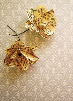 flowers made from book pages