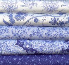 Summer Breeze II bleu et blanc par les Studios Sentimental pour Moda 5 quarts 100 % coton matelassage tissu de graisse