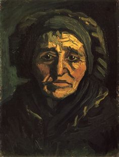 Head of a Peasant Woman with a Greenish Lace Cap, 1885. jpeg. Vincent van Gogh. Download painting.