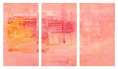 Abstract peach canvas triptych - hardtofind.