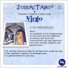 Daily tarot card for Virgo from ZodiacTarot! Ever had an  I Ching reading?  Weirdly relevant!  Visit iFate.com today!