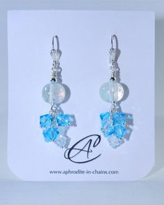 Dichronic and Swarovski Cluster Dangle Earrings by AinC on Etsy, $19.99