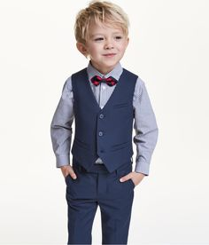 Suit vest in twill with buttons at front, mock front pockets, and a decorative tab at back. Lined.Learn well-known young one guy trousers on your amazing variety of in vogue jeans for toddler kids. Toddler Boy Suit, Toddler Boy Fashion, Fashion Kids, Toddler Boys, Fashion Shoes, Wedding Outfit For Boys, Boys Wedding Suits, Boys Formal Wear, Boys Tuxedo