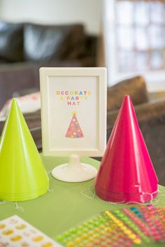 Hats off to this idea: A hat decorating station at a birthday party.