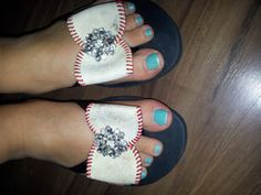 baseball bow flip flops with brooches by FleamarketFunky
