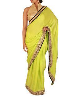 Pear Green Pure Satin saree with golden cutwork border | Sweta Sutariya
