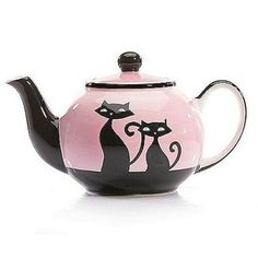 Tea for two Pink Kitty teapot - Hues N Brews. Found this on eBay love it!