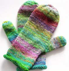 Pretty Wool mittens, hand knitted, handspun wool,womens mittens, handmade. via Etsy.