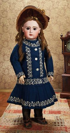 """French Bisque Bebe by Emile Jumeau,Size 14,Fine Antique Costume and Signed Shoes 29"""" (74 cm.)"""