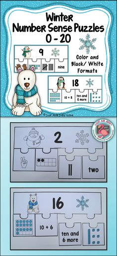 This number sense activity with a winter theme includes page size color and black/ white puzzles with the numbers 0-20 represented in different ways- number words (0-10), fingers (0-10), tally marks (0-10), ten frames (0-20), base ten blocks (11-20), ten and _ more (11-20), and 10 + _ (11-20). $ K-1