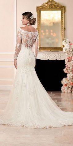 Stella York Long Sleeved Wedding Dress with Illusion Back style 6353 c / http://www.deerpearlflowers.com/stella-york-fall-2016-wedding-dresses/2/