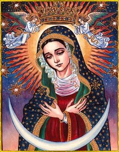 Our Lady of Guadalupe Blessed Mother Mary, Divine Mother, Blessed Virgin Mary, Religious Images, Religious Icons, Religious Art, Virgin Mary Art, Art Populaire, Queen Of Heaven