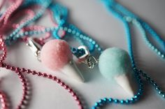 Cotton Candy Best Friend Necklaces, Miniature Food Jewelry