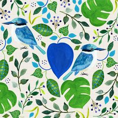 Everything is becoming green around these parts again since we've hit winter (with lots of rain). But I'm finally getting to use my Kingfisher in a pattern which makes me very happy Surface Pattern, Surface Design, Lilla Rogers, Kingfisher, Color Inspiration, Greenery, Plant Leaves, Gouache, Painting