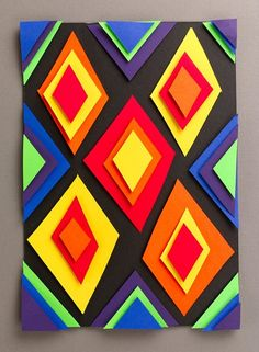 Combine stacks of your favorite colors for some eye-popping art. Geometric kids craft!