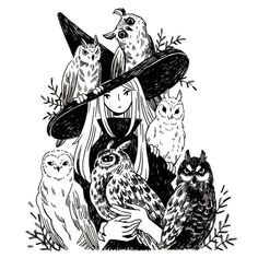 Heikala Inktober day A witch and six owl familiars Don't talk to me or my six flying cats ever again. Art And Illustration, Kunst Inspo, Art Inspo, Fantasy Kunst, Fantasy Art, Witch Drawing, Witch Aesthetic, Aesthetic Art, Witch Art
