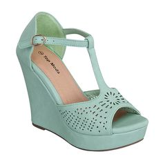 TOP MODA Teal Ella Wedge ($18) ❤ liked on Polyvore