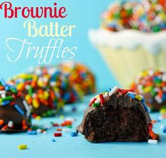 Brownie Batter Truffles - rich, no bake, and fabulous!! Just like little bits of brownie batter. Great for parties or teacher