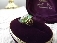 Groovy Green Cut Glass Statement Ring SZ 5.5, Vintage Bling for a Night Out on…
