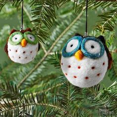 My, what big eyes you have! These hoot-worthy companions are a cozy addition to your Christmas tree. Make a pair (or more) from wool roving and minimal hand-stitching. They're inexpensive to make and will look wise for many seasons.