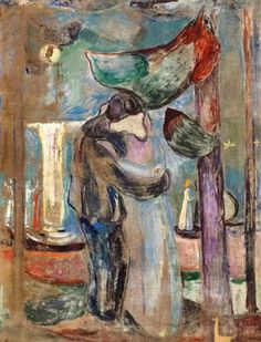 Edvard Munch - 1921-23, Kiss on the Beach uses abstract elements similar to mine last unit will try to incorporate these painted blur characteristics into my art as I explore Munch's work and technique