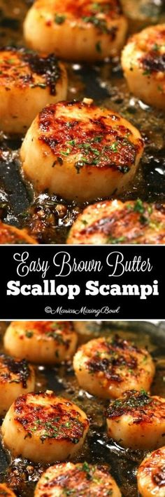 Easy Brown Butter Scallop Scampi - Delectable garlic scallops, seared to a golden perfection in browned butter and garlic and just a few other simple ingredients that make this a simple must make meal. Food Recipes For Dinner, Food Recipes Keto Fish Recipes, Seafood Recipes, Low Carb Recipes, Great Recipes, Cooking Recipes, Favorite Recipes, Seafood Appetizers, Hallumi Recipes, Hotdish Recipes