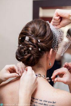 Bridal updo on dark hair - twists and braids are incorporated. Russian Twist, Bridal Updo, Twist Hairstyles, Dark Hair, Hair Pieces, Updos, Veil, Hair Makeup, Braids