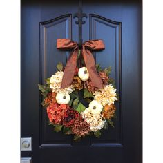 Fall Wreaths Wreath Fall Door Decor White Pumpkins Fall Colored Wreath... ($100) ❤ liked on Polyvore featuring home, home decor, holiday decorations, grey, home & living, home décor, ornaments & accents, floral ornament, hydrangea wreath and autumn wreath