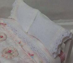 Dollhouse Miniature Shabby style Bed Sheet Set by DebbieCalif, $13.00