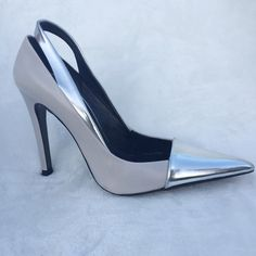 """ZARA GRAY LEATHER HEELS W/Silver Cap Toe - Sz. 37 These beautiful heels by Zara can be worn for a casual look or upscale.  They are in great condition- only worn once with no visible signs of wear. They run a 1/2 size small.  Heel is a little over 4"""". Zara Shoes Heels"""