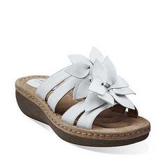 Womens Clarks Amaya Lilly White Leather Sandals 63810